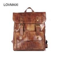 Lovmaxi 2018 Винтаж из натуральной кожи Для мужчин рюкзаки Ретро коричневые кожаные сумки бизнес ежедневно пакеты высокое качество