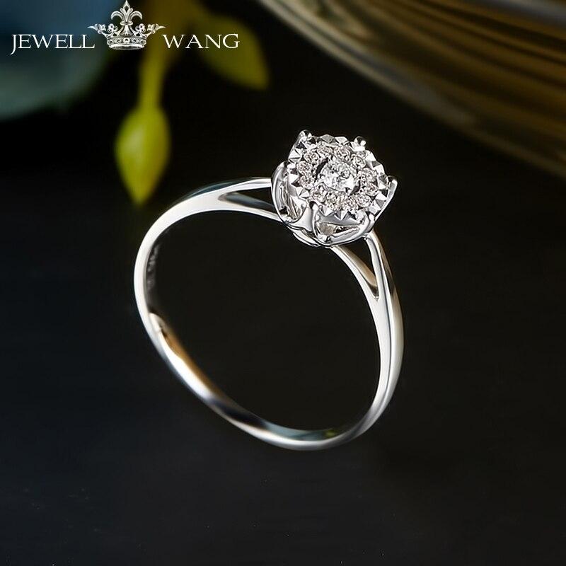 c86a50c309ba JEWELLWANG anillos de diamantes para mujer 1 quilate efecto 18 K oro blanco  puntas configuración compromiso