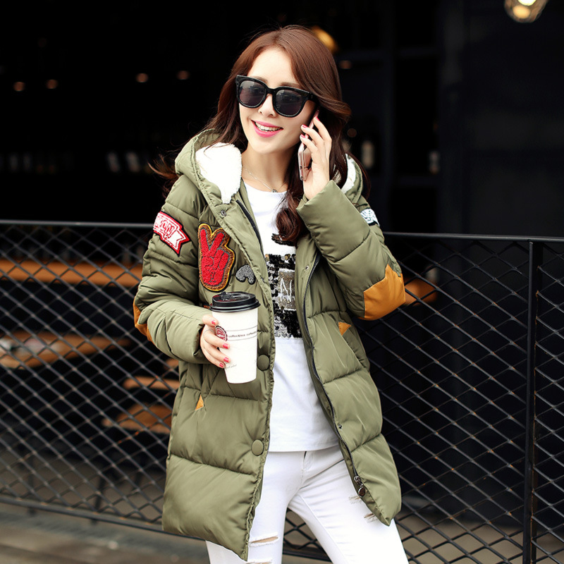 ФОТО 2016 New Winter Women Wadded Jacket Coat Hooded Long Down Cotton Outwear Letter Print Thick Casual Warm Parka Plus Size B740