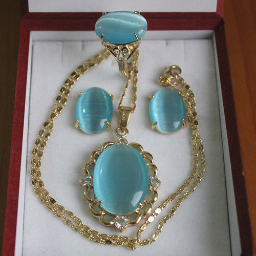 lady's fine 18kgp Inlay blue jade Necklace Earring Ring set