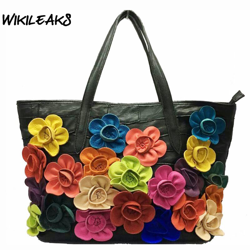WIKILEAKS 2017 Famous Designer Genuine Leather Tote Bags Flower Shoulder Bags Large Handbags Sheepskin Fashion Lady Totes D96 джулиан ассанж книга wikileaks избранные материалы