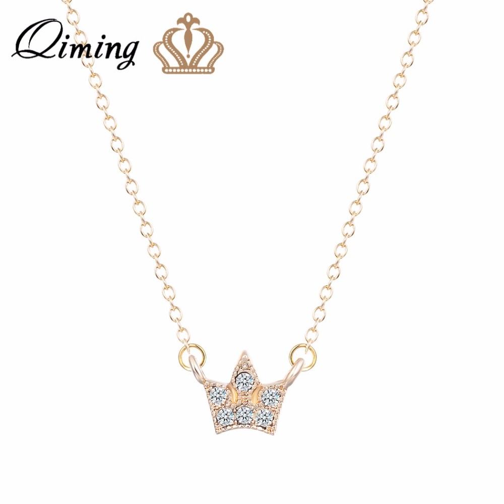 QIMING New Silver CZ Crown Necklace For Women Bride Wedding Gift Crown  Princess Necklace Baby Girl 2dc1e34e1d16