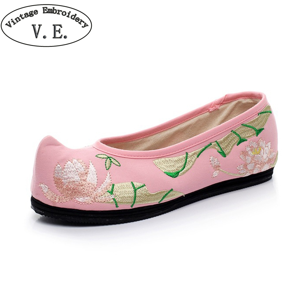 Spring Women Flats Shoes Chinese National Lotus Embroidered Woman Shoes Canvas Travel Ballerina Shoes Zapatos Mujer mnixuan chinese embroidered women shoes