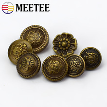 Meetee 50pcs 12.5-25mm Rlastic Bronze Round Shank Buttons DIY Coat Jacket Decor Buckle Garment Sewing Scrapbooking Accessory