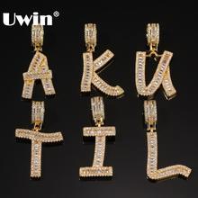 UWIN biżuteria złoty kolor bagietka zawieszka w kształcie litery naszyjnik angielski inicjały Iced Out Cubic Zriconia Hiphop biżuteria