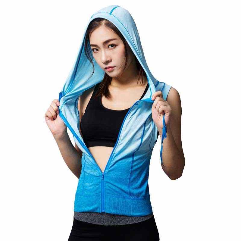 Women Gym Sleeveless Hooded Tee Fitness Sport T Shirt Yoga Workout Vest Exercise Running Clothing Sportswear Tank Tops Hoody M10