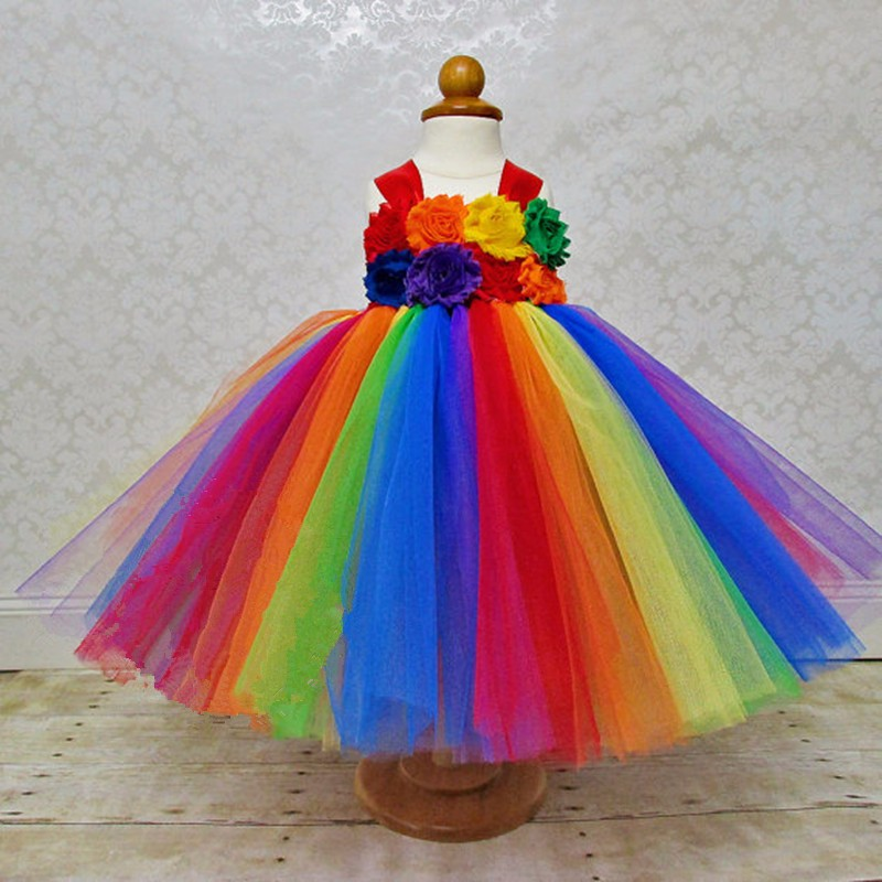 Rainbow Color Girls Long Tutu Dress Kids Fluffy Tulle Dress Ball Gown With Straps and Shabby Flower Children Party Costume Dress cute girls purple long tutus dress kids handmade fluffy tulle princess dress with flower satin bow children party tutus 1pcs