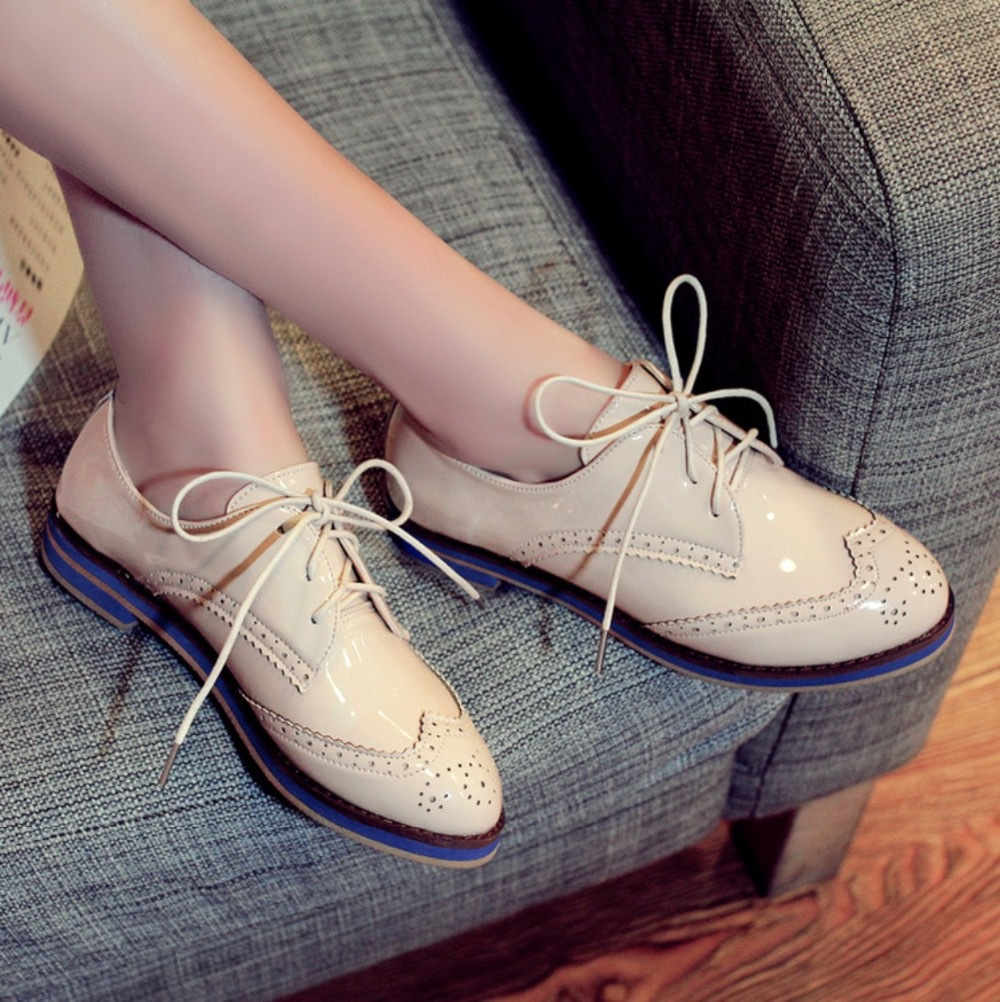 Spring And Summer Women Shoes British Style Casual Flat Leather Single Shoes Rubber Sole Lacing Martin Shoes Women Flats
