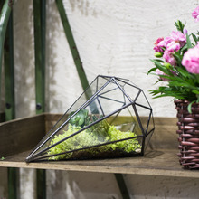 Handmade Eight surfaces Diamond Shape Geometric Glass Terrarium Tabletop Plant Pot Decorative Planter for Succulents Container