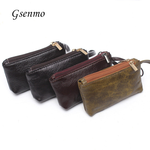 Genuine Leather Small Wallet Women Coin Bag Men Womens Wallets and Purses Clutch Bag Carteira Feminina Wristlets Card Houlder