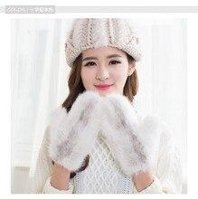 Autumn winter real genuine mink fur knitted gloves for women, new arrival full finger warm fur gloves