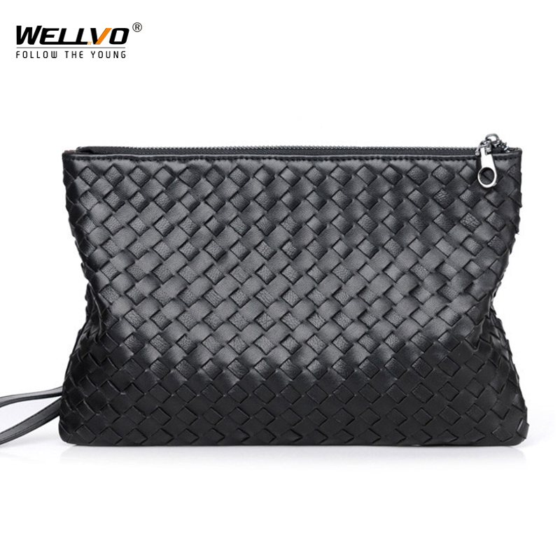 Wellvo New style male bag fashion luxury Large high-capacity men handbag Sheepskin braid Soft leather business handbag XA245WC