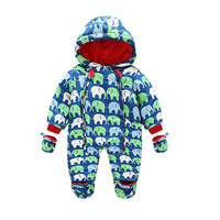 New Baby Rompers Winter Thick Warm Baby Boy Clothing Long Sleeve Hooded Jumpsuit Infant Baby Girls