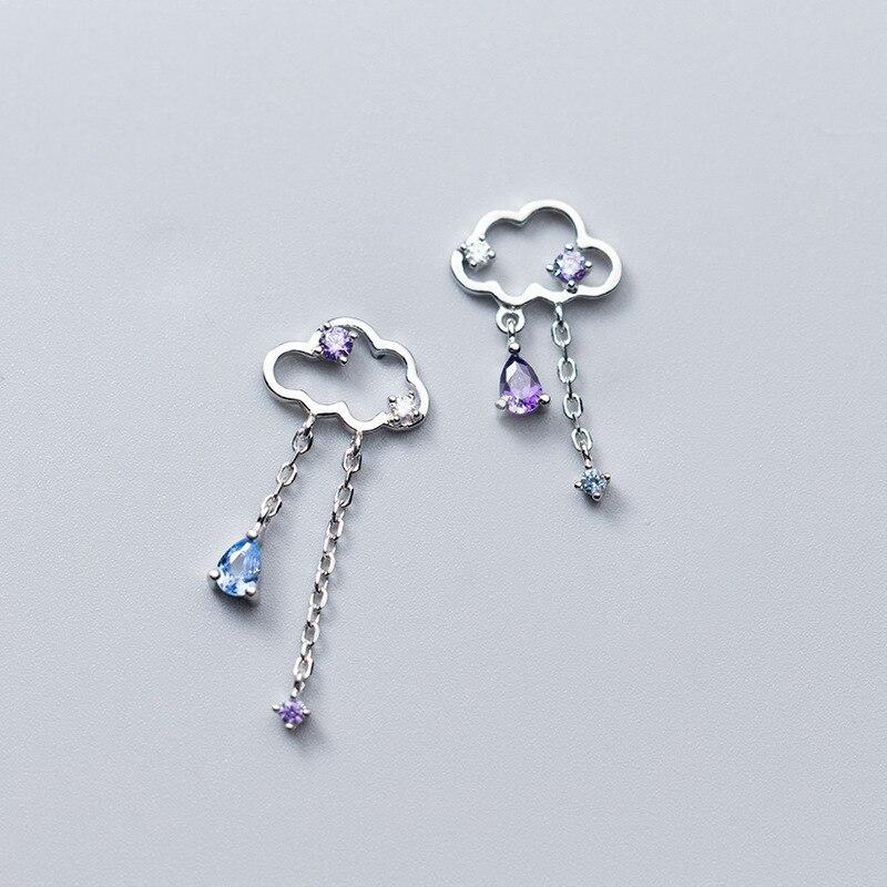 MloveAcc Echt 925 Sterling Silber Handgemachtes Feine Schmuck Ethnischen Cloud mit Regentropfen Quaste Baumeln Ohrringe für Frauen Brincos