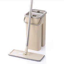 Flat Squeeze Mop and Bucket Hand Free Wringing Floor Cleaning Microfiber Mop Pads Wet or Dry Usage on Hardwood Laminate Tile(China)