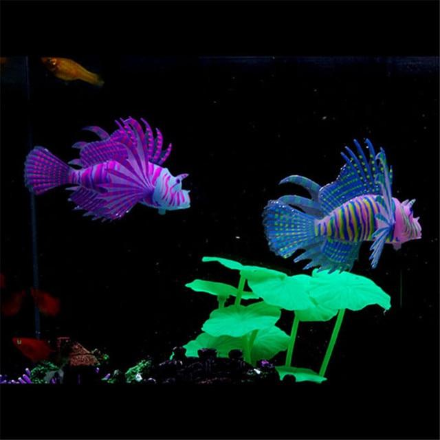 1PC Glow In Dark Artificial Aquarium Lionfish Ornament Fish  4