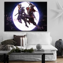 League Of Legends Game The Moon Night Sword Warrior Duel Painting On Canvas Print Type And On The Wall Decor 1 Pcs Style Picture on the moon