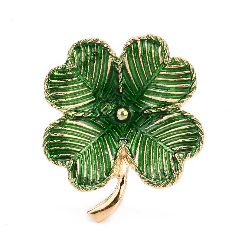 Green Enameled Four Leaf Clover Brooch Pin Zinc Alloy Pin Garment Accessories