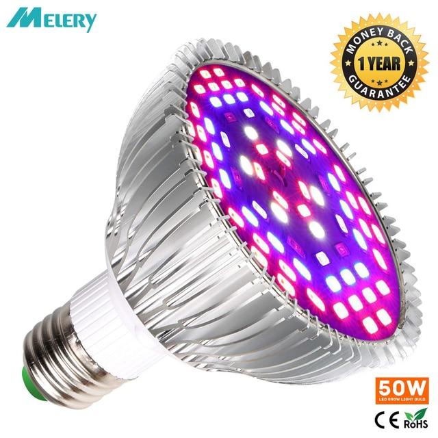 LED Grow Light Bulb 50W Indoor Plants  Bulbs Full Spectrum Lamp Vegetables Flowers for Hydroponics Greenhouses Gardening