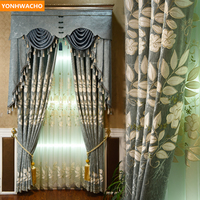 Custom curtains Velvet embroidered thick chenille atmosphere pastoral European cloth blackout curtain tulle valance drapes N800
