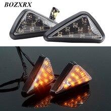 BOZXRX 1 пара Треугольники 12 В универсальный мотоцикл светодиодный Сигнальные лампы направление света пираньи индикаторы сигнальных огней желтый
