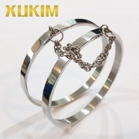 Xukim Jewelry Lovers Double Ring Loop Punk 316L Stainless Steel Cuff Bangle Bracelet Men and Women Love Jewelry Gift