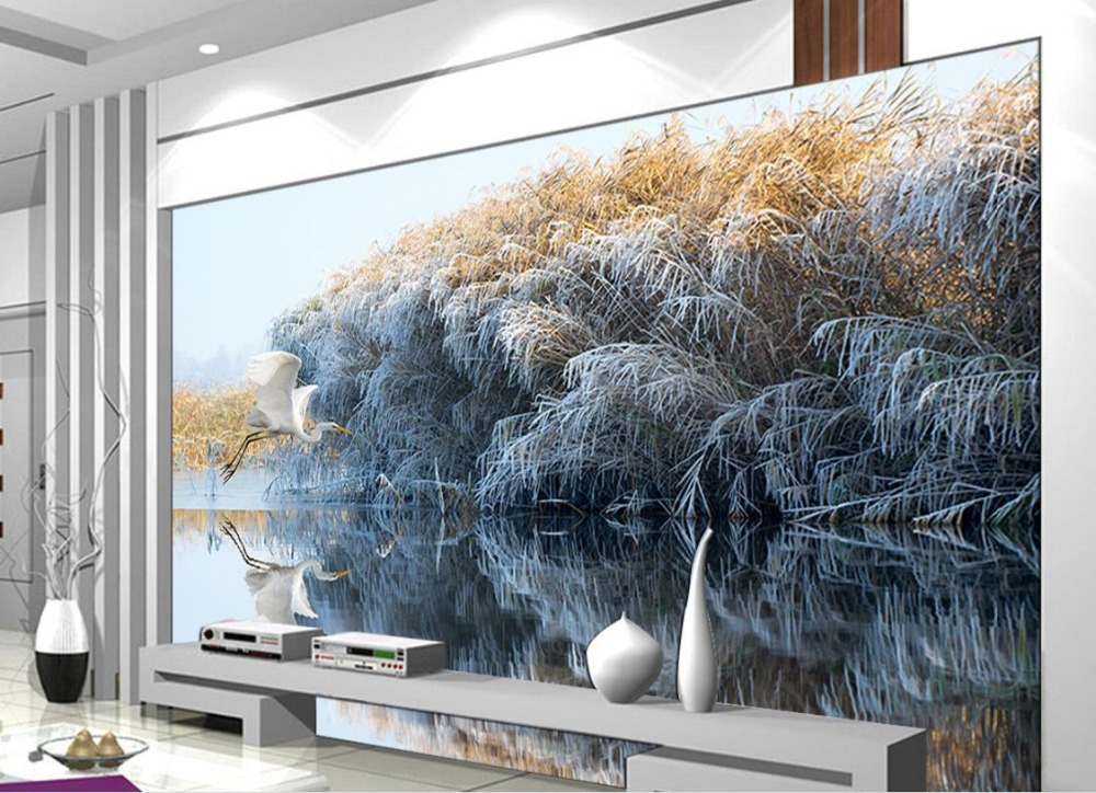 Customize Chinese style Swan reed papel de parede 3d para sala atacado Landscape Photo Wall Mural Wallpaper 015 top fashion papel de parede para sala wall style elephant with collapsing design 3d wallpaper mural can be customized paper