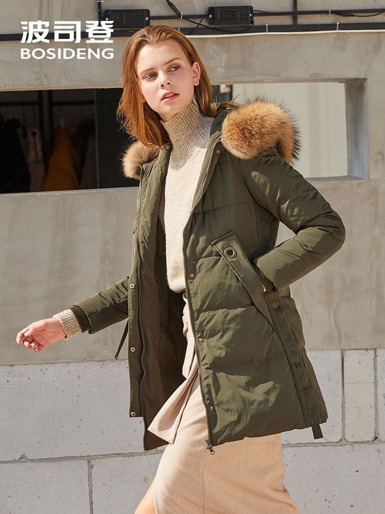 BOSIDENG women winter duck   down   jacket mid-long   down     coat   natural fur collar X style slim thicken outwear waterproof B70141004