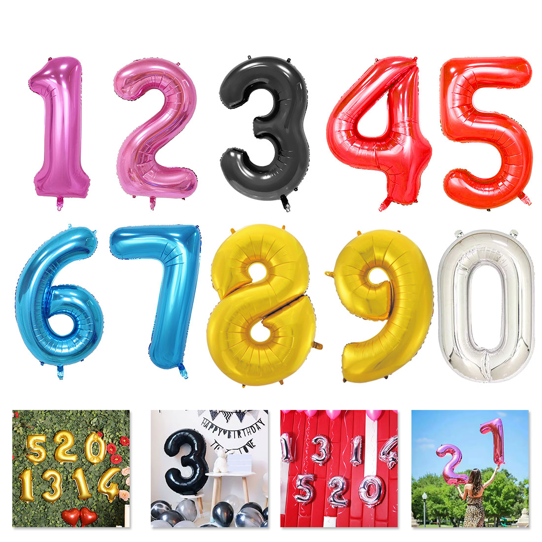 32 Inches Digit Foil Number Balloons inflatable Wedding Birthday Number Foil Balloon birthday party decorations
