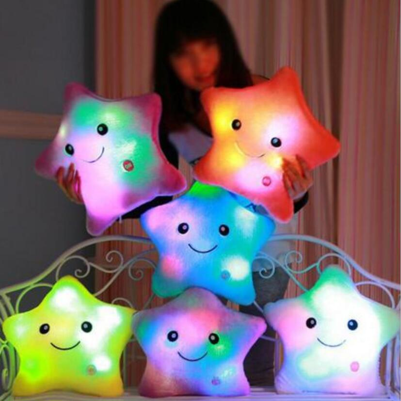 Luminous pillow Christmas Toys, Led Light Pillow,plush Pillow, Hot Colorful Stars,kids Toys, Birthday Gift