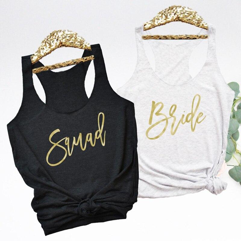 2019   Tank     Tops   Bridesmaid and Bachelorette Party   Tanks   Retro Racerback Matching Bridal Wedding Celebrity Shirt Vest Squad Bride