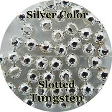 Silber Farbe, 100 Wolfram Perlen, Schlitz, Fliegen Binden, Angeln