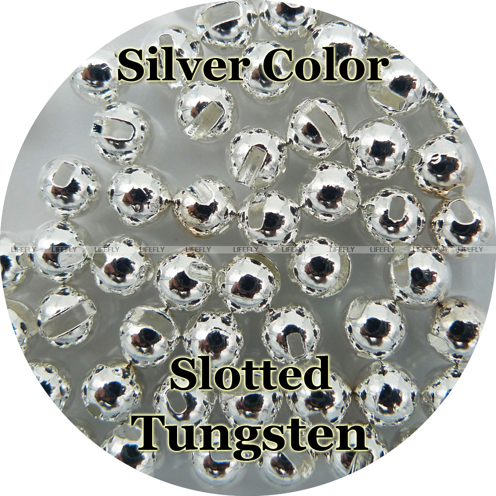 Silver Color, 100 Tungsten Beads, Slotted, Fly Tying, Fishing