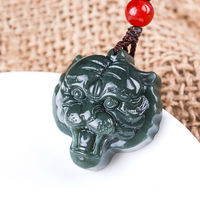 Free Shipping Natural Dark Green Hetian Stone Pendant Carved Tiger Head Pendants Men S Amulet Nephrite