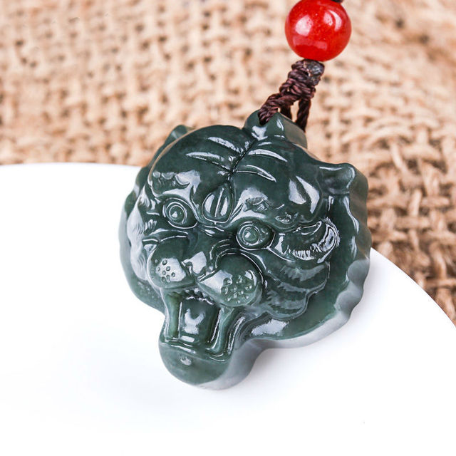 Free shipping natural dark green hetian jades pendant carved tiger free shipping natural dark green hetian jades pendant carved tiger head pendants mens amulet nephrite mozeypictures Images