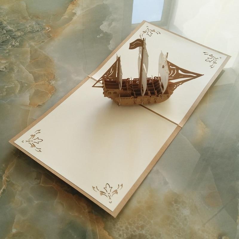10 pieces/lot)Elegant Handmade 3D Pop Up Paper Gift Card Vintage ...