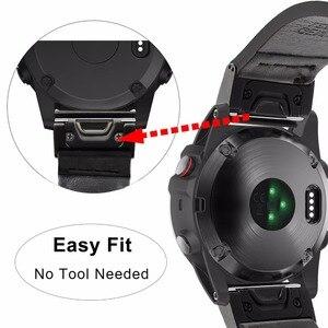 Image 4 - מהיר קל Fit עור אמיתי רצועת השעון עבור Garmin Fenix 5X/5X בתוספת/5S/5/3/ 3HR/Forerunner 935/גישה S60 להקת שעון רצועה