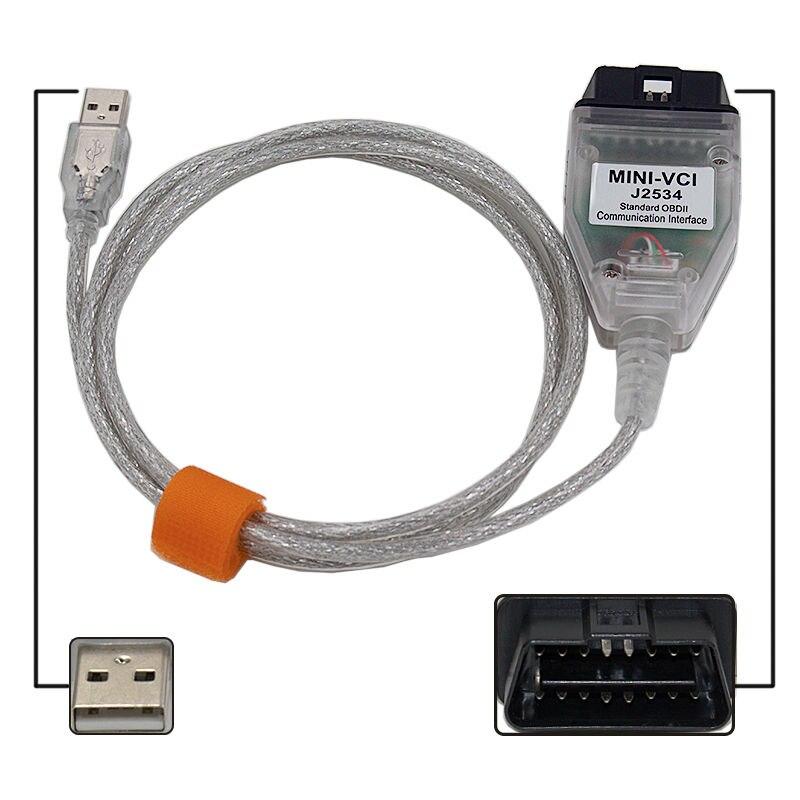 Последние v12.00.127 мини VCI Интерфейс для TOYOTA ТИС Techstream мини-VCI FT232RL чип J2534 OBD2 Диагностический кабель Бесплатная доставка