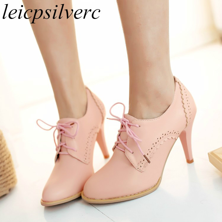 Women Pumps Shoe Super High Heel Pu Pointed Toe Lace Up -8673