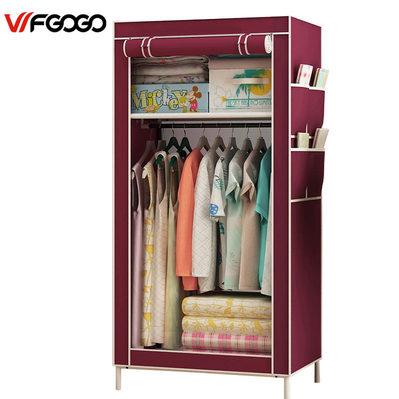 WFGOGO Wardrobes Linen closet Fabric Folding Closet Cloth Cabinet Roll Up Portable Storage Cabinet simple fashion moistureproof sealing thick oxford fabric cloth wardrobe rustproof steel pipe closet 133d