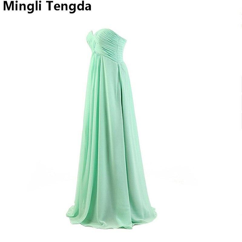 Mingli Tengda 2018 longue menthe vert/rose robes de demoiselle d'honneur sans bretelles robe en mousseline de soie robe demoiselle d'honneur robe de mariée