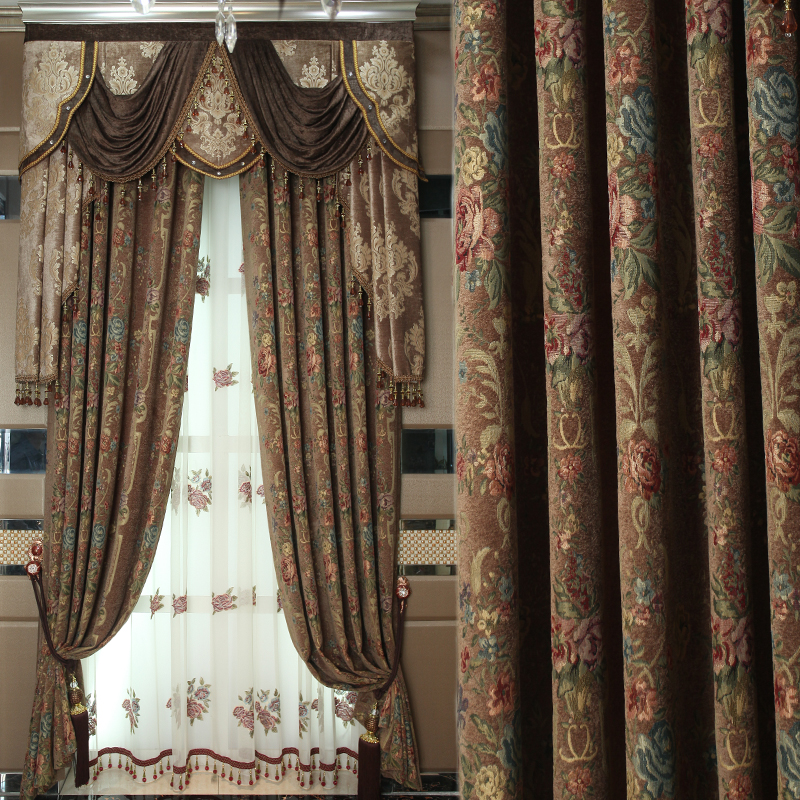 Custom Curtains American Pastoral Chenille Jacquard European  Embroidered Cloth Blackout Curtain Tulle Valance Drapes N444