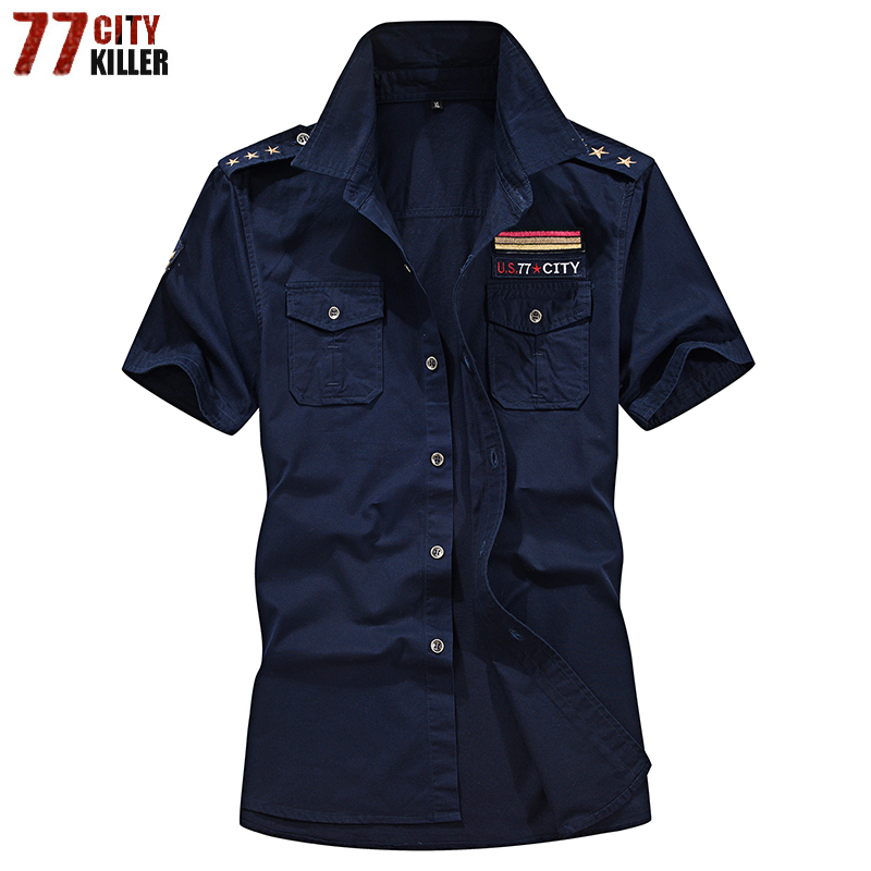 77City Killer Summer Men Shirt Cotton Military Tactical Shirts