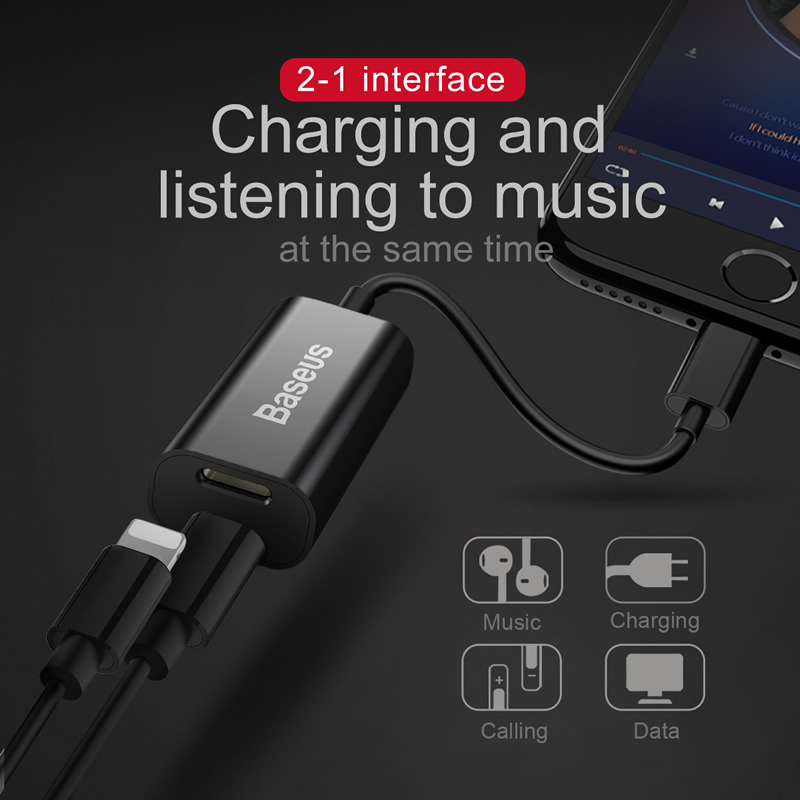 Baseu 2 in 1 Aux Cable can charging and listening to the music For iPhone 7 / 7 Plus Earphone Headphone Adapter