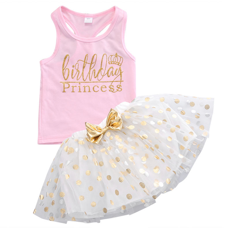 Kid Girls Clothes Set Toddler Sleeveless Top Sleeveless T-shirt Party Polka Dot Bow Skirt Outfit Children Clothing Summer Girl two pieces kid girl clothing set flower t shirt tutu skirt children summer set for 2 12 girls outfits party prom