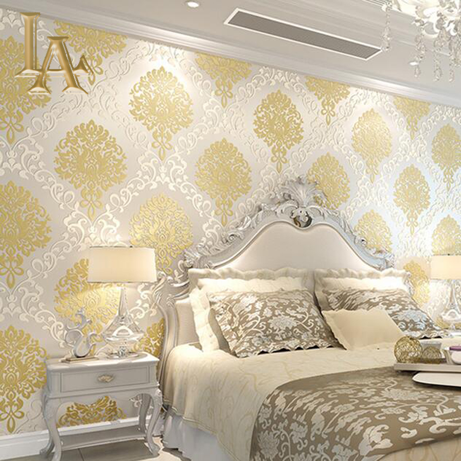 Classic european embossed gold glitter damask wallpaper for Bedroom mural designs