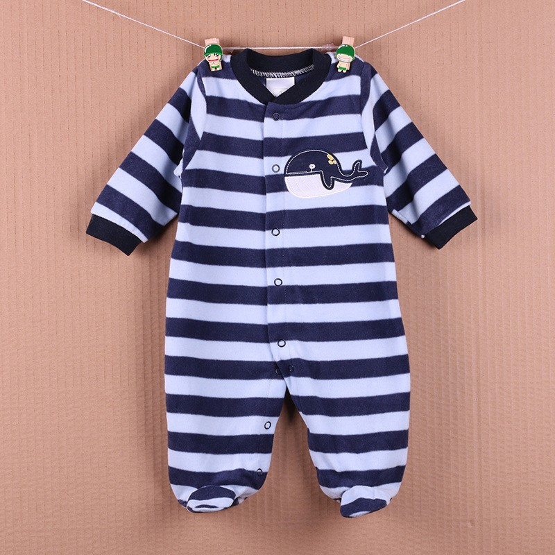 New Arrival Baby Footies Boys&Girls Jumpsuits Spring Autumn Clothes Warm Cotton Baby Footies Fleece Baby Clothing Free Shipping (2)