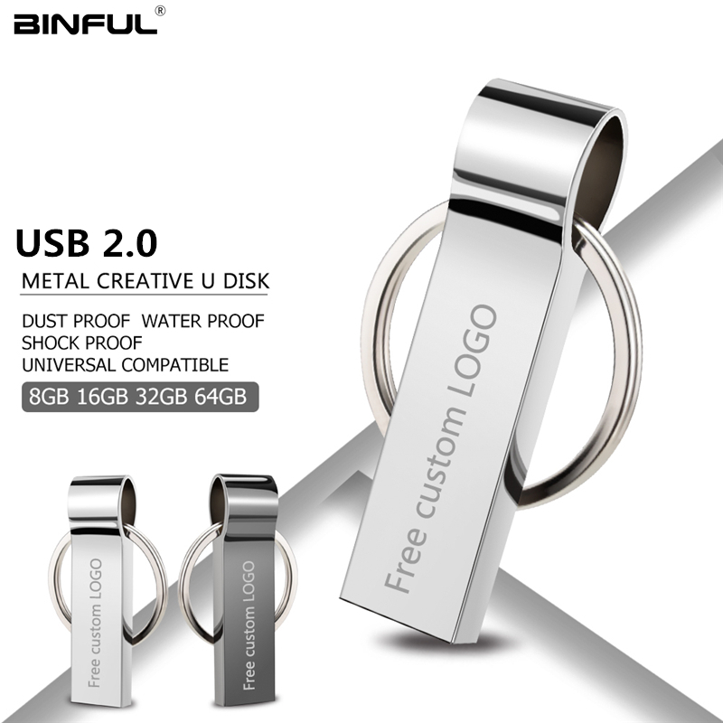 Metal Usb Flash Drive 32gb Pen Drive Usb 2.0 Pendrive 4gb 8gb 16gb 64gb 128gb Flash Memory Stick Key Free Print LOGO U Disk gift