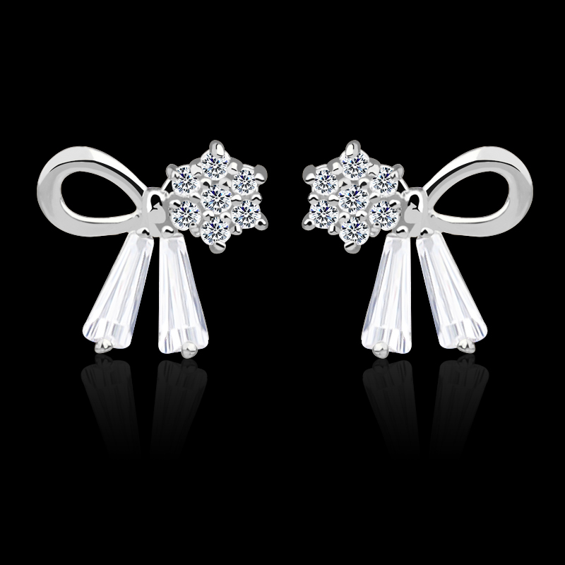 CHUKUI Bowknot Crystal Earrings Female CZ Earings Korean Fashion Jewelry Ear Rings Silver Sterling 925 Bulk for Summer 1