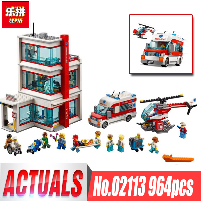 Lepin 02113 964Pcs City Series legoing 60204 City Hospital Set Building Blocks Bricks Educational Kids Toys Birthday Gifts Model
